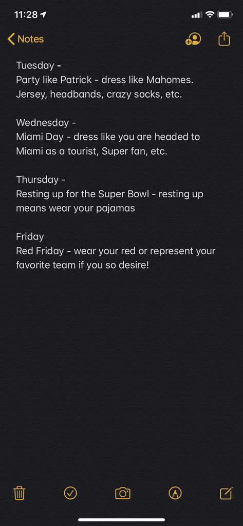 We will have dress up days next week for the Super Bowl at LMS! Plan accordingly.